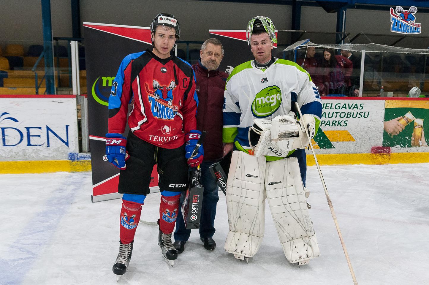 Optibet hokeja līgas regulārā čempionāta spēlē Zemgale/LLU papildlaikā zaudē Mogo ar rezultētu 2:3 Jelgavas ledus hallē 2017. gada 28. oktobrī.