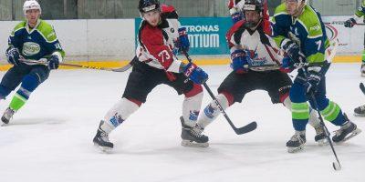 """Optibet hokeja līgas izslēgšanas kārtas otrā spēle starp """"Mogo"""" un """"Zemgale/LLU"""", Mogo ledus hallē, Rīgā, 2018. gada 25. februārī. Kostjuks"""