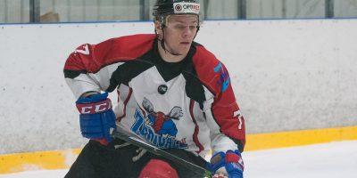 """Optibet hokeja līgas izslēgšanas kārtas otrā spēle starp """"Mogo"""" un """"Zemgale/LLU"""", Mogo ledus hallē, Rīgā, 2018. gada 25. februārī. Jākobsons"""