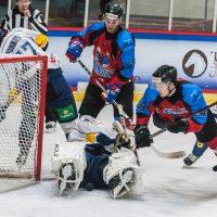 "Optibet hokeja līgas spēle starp HK ""Zemgale/LLU"" un HK ""Kurbads"" Jelgavas ledus hallē 2018. gada 10. oktobrī."