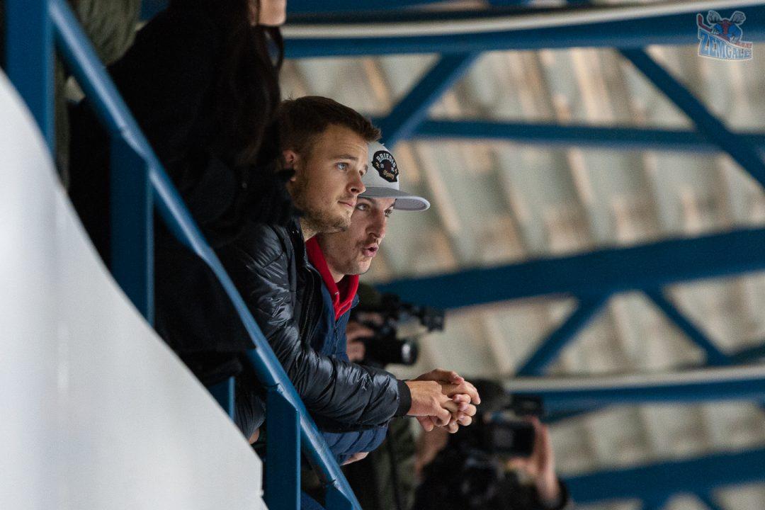 Skatītāji Optibet hokeja līgas spēlē HK Zemgale LLU Jelgavas ledus hallē
